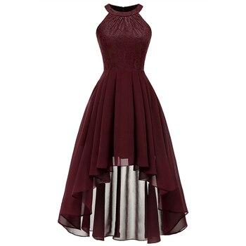 839d342e373c881 2019 элегантное платье с лямкой на шее дамы кружевное шифоновое платье Для  женщин летнее платье без