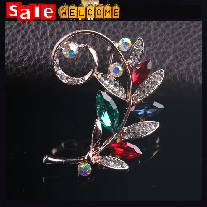 Fashion Jewelry Broches Collar Pin ,Metal Crystal Leaf Rhinestone Wedding Hat Accessories Lapel Pin Corsage Brooches for Women