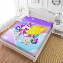 Colorful Flying Unicorn Fitted Sheet Kids 3D Cartoon Bed Twin Full Queen King Bedding Deep Pocket Mattress Cover D45