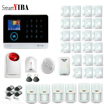 SmartYIBA WIFI SMS GPRS Wireless Wired Home Intruder Security GSM Alarm System Sensor Kit Wireless Gas Detector Home Protection|Alarm System Kits| |  - title=