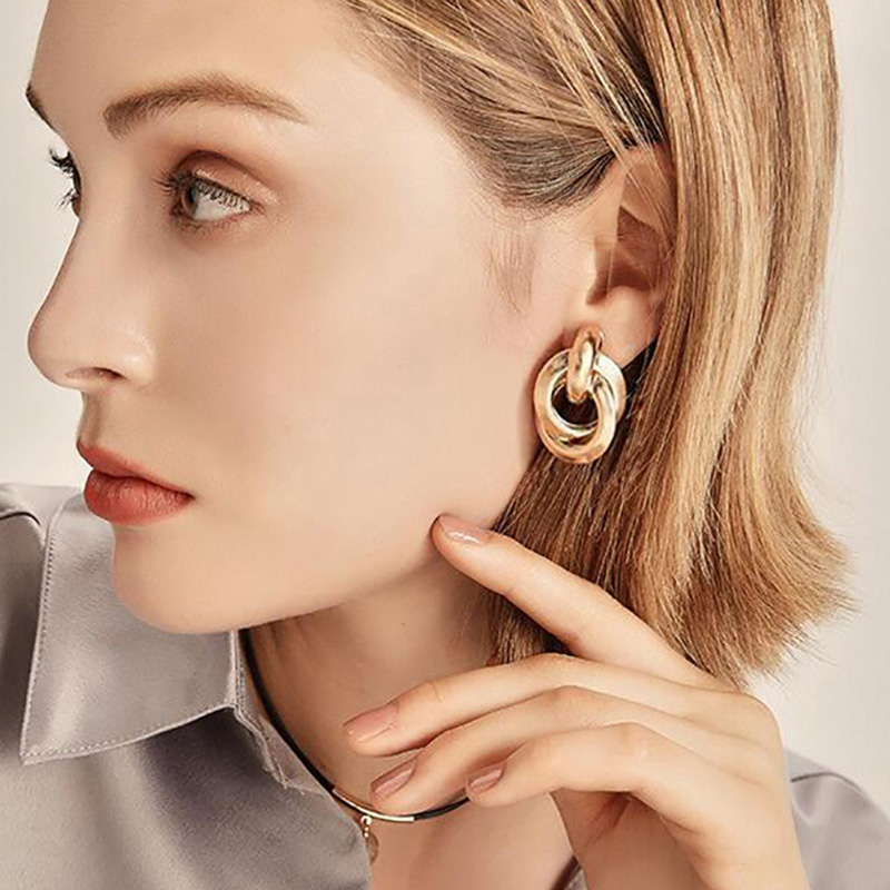 RscvonM Gold Silver Alloy Stud Earrings For Women Exaggeration Earrings Wedding Simple Fashion Jewelry Trend Accessories