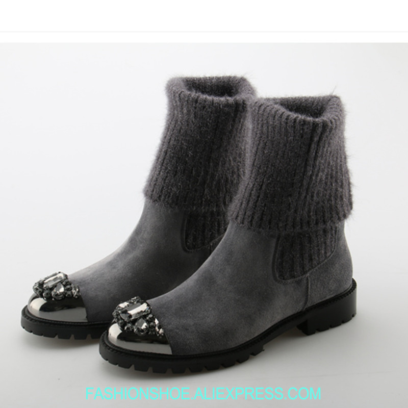 все цены на Crystal Embellished Metal Toe Women Sock Boots Short Booties Low Heel Mid-calf Boots Luxury Brand Star Runway Winter Warm Shoes онлайн