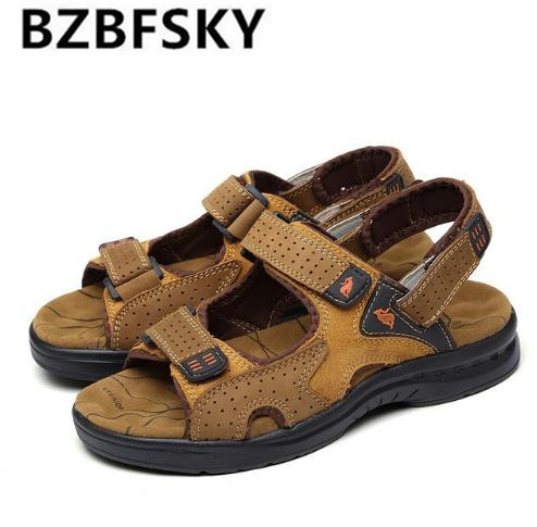 American Made Top Quality Men Sandals Yellow Genuine Leather Europe Style Male Sandals Leather Sandals