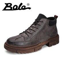 f34c794d Botas estilo tendencia juvenil tobillo otoño punta redonda cuero corto  hombre negro marrón caqui botas duras