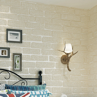3D Stereoscopic Brick Pattern Flocking Non Woven Wallpaper Living Room Bedroom Backdrop Decorative Wallpaper Home Decor
