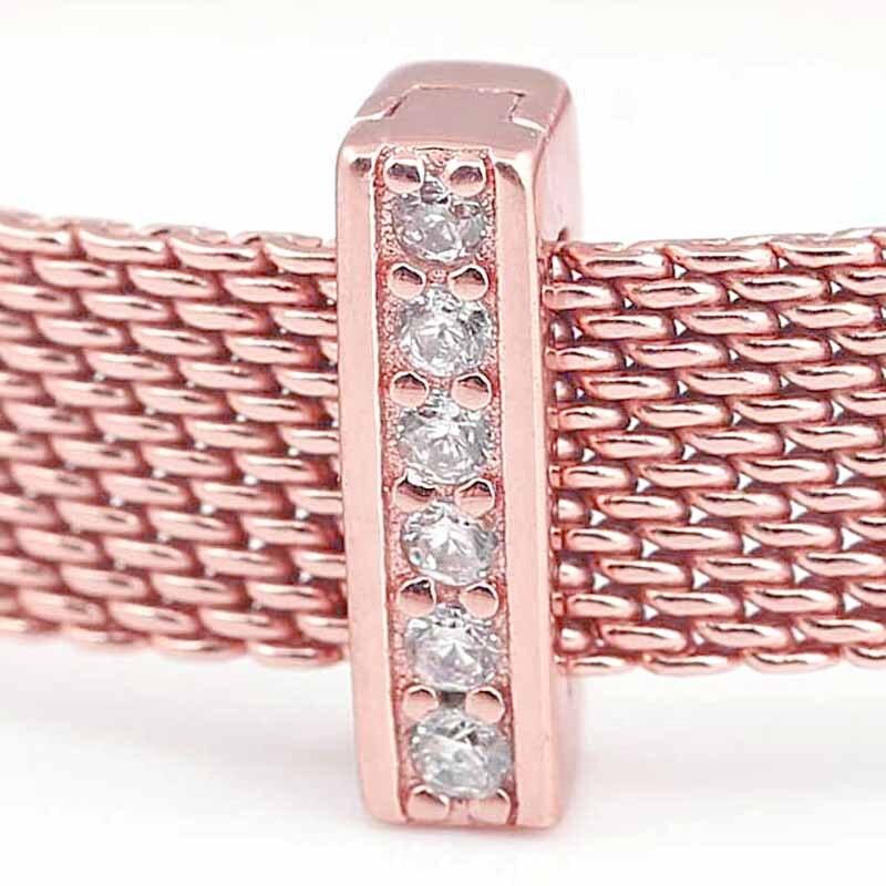 Новый 925 пробы серебряный шарик шарм розовое золото рефлексионы вневременной блеск клип Бусины Fit Pandora браслет Diy ювелирных изделий