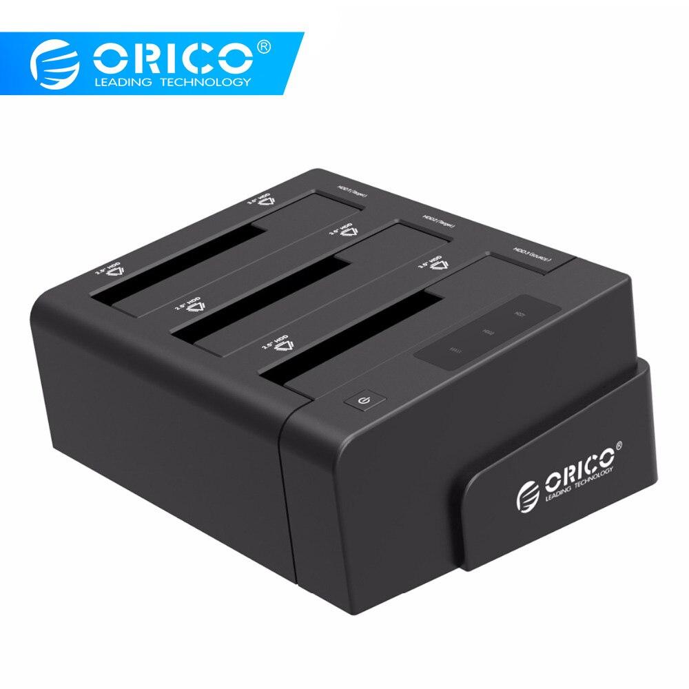 ORICO 3-Bay USB 3.0 HDD Dock Station para 2.5 3.5 polegada Disco Rígido SATA HDD Clone Apoio Com suporte Adaptador de Alimentação 12V5A 18TB