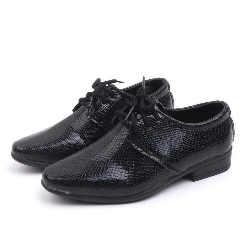 Kids New Boys Pu Leather Wedding Dress Shoes For Girls Children Baby Black School Performance Formal Flat Loafer Moccasins Shoes
