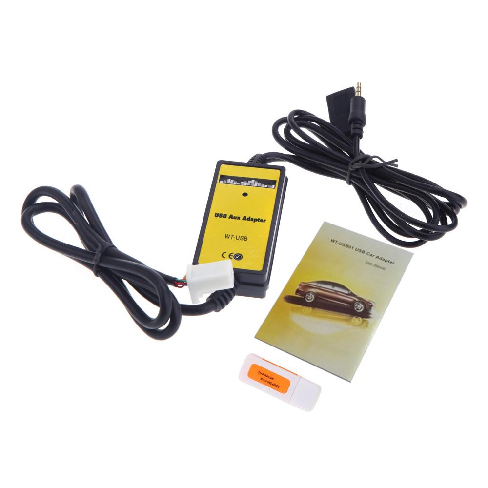 Prix pour Auto Voiture USB 3.5mm Aux In Adaptateur MP3 Lecteur Câble Radio Interface avec Lecteur de Carte Pour Toyota Camry Corolla matrice