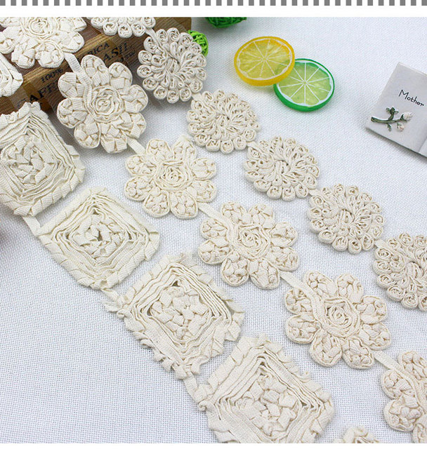7 yards/lot 3D Cotton Embroidery Lace Trim Flower Laciness DIY Hair  Accessory Material Fabric