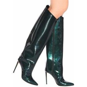 Image 2 - MStacchi מסלול נעלי עקב צבעים בוהקים מראה עור מתכתי מעל הברך נשים מגפי סופר עקבים גבוהים הברך גבוהה מגפי אישה