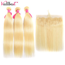Vallbest 613 Bundles With Frontal Brazilian Straight Hair Blonde Bundles With Frontal Closure 3 Bundles With Lace Closure Remy(China)