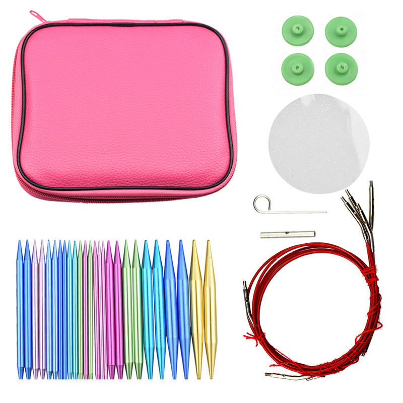 26pcs Circular Knitting Needle Ring Set Aluminum Change Head Detachable Sewing Tools Accessories DIY Needle Arts Craft With Case