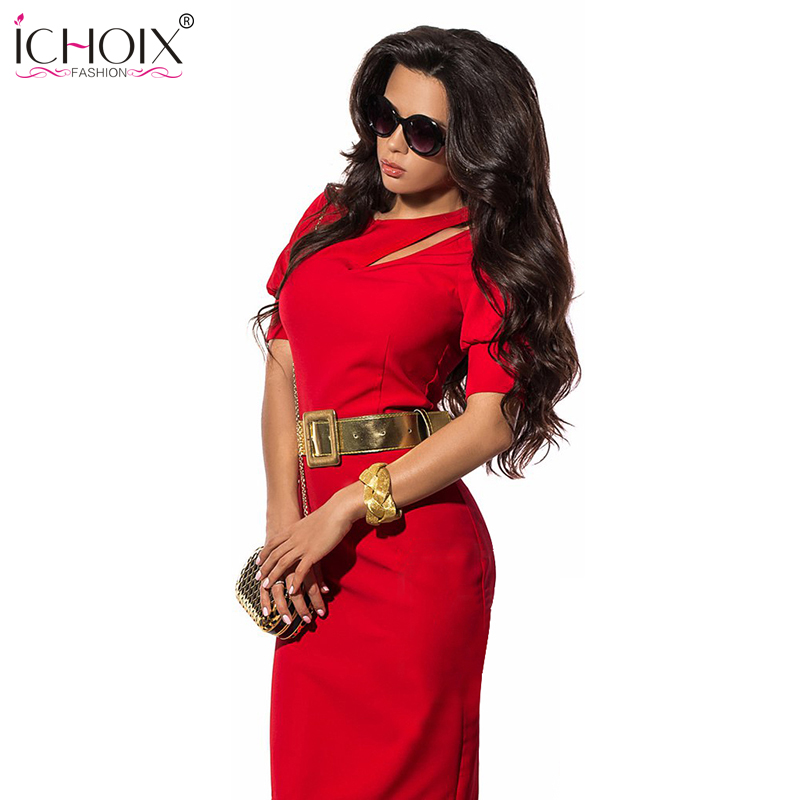 Summer New style Women sexy dresses hollow out special occasion Ladys dating clothing femme O-neck vintage Red dress No Belt