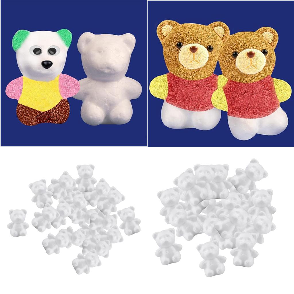 40 Pieces White Bear Shaped Styrofoam Foam Polystyrene Ornaments DIY Craft Party Decoration, 57 x 43 x 28 mm