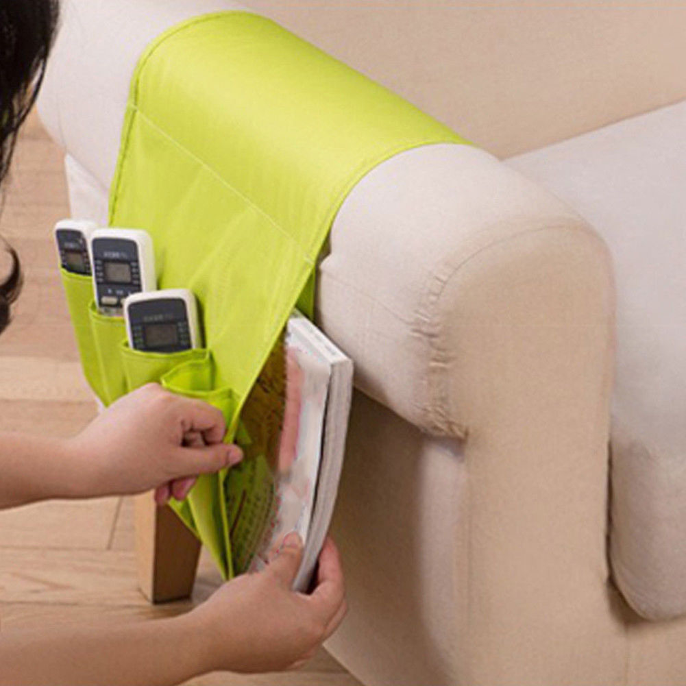 Sofa Arm Rest TV Remote Control Organizer Holder 4 Pockets Chair Couch Mobile Phones Magazine Storage Bag TB Sale