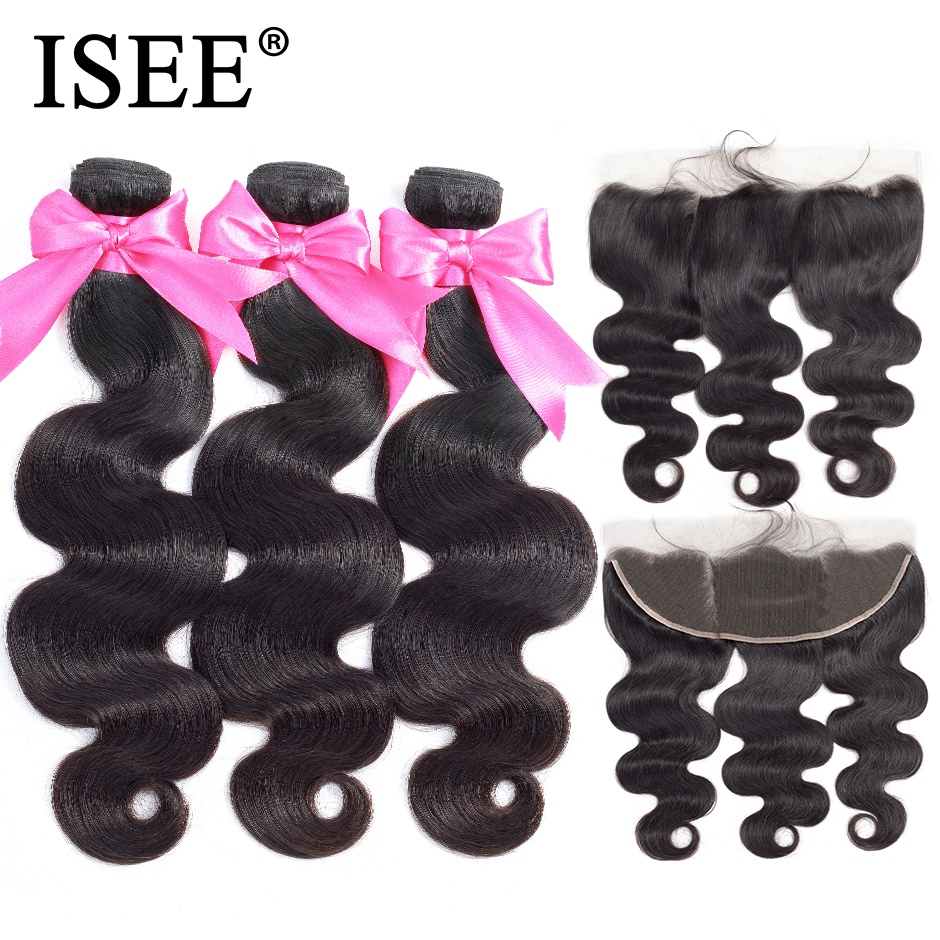 ISEE HAIR Human Hair Bundles With Frontal 13*4 Pre Plucked Lace Frontal Remy Peruvian Body Wave Bundles With Frontal