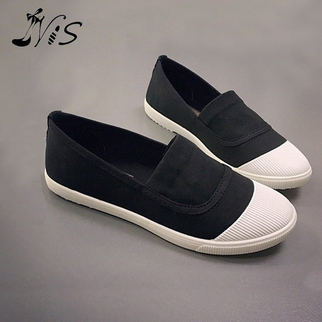 Women Casual Canvas Shoes Slip-on Breathable Plimsolls Lady Round Toe Espadrilles Spring Summer Women's Vulcanize Shoes