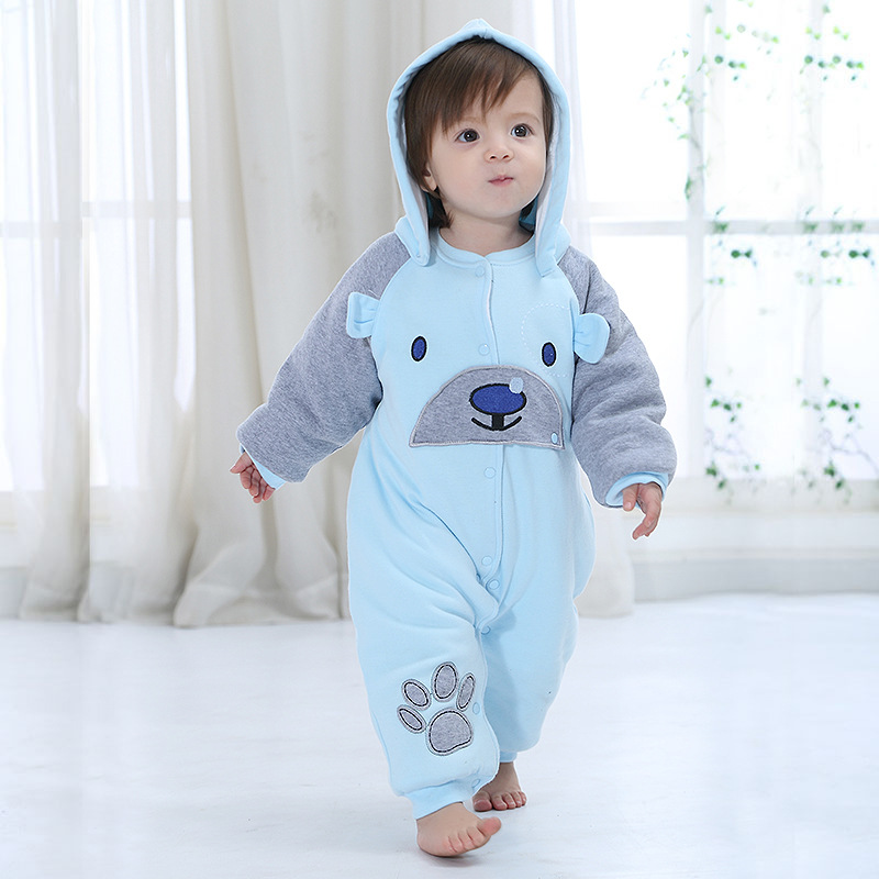 Newborn Blue Bear Baby Boy Warm Infant Romper Kid Jumpsuit Hooded Infant Clothes Outfit Winter Baby Pink Romper Knitted Kids puseky 2017 infant romper baby boys girls jumpsuit newborn bebe clothing hooded toddler baby clothes cute panda romper costumes
