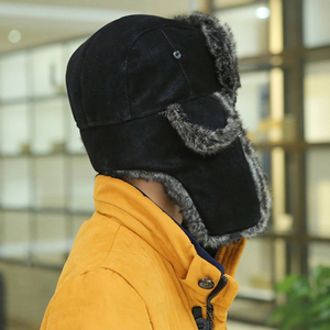 Image 3 - HT2001 erkekler kış kürk şapka yumuşak PU deri Trapper rus şapka kapaklar kalın sıcak rus Ushanka şapkalar kış rüzgar geçirmez bombacı şapka