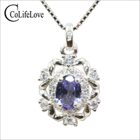 Vintage tanzanite silver pendant for party 0.5 ct natural tazanite pendant solid 925 silver tanzanite jewelry girl birthday gift