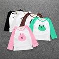 As Meninas Do Verão Camisas de Algodão Do Bebê da Criança Primavera Outono adorável Character Impressão Tops de Manga longa T-shirt das meninas do menino do bebê SY102