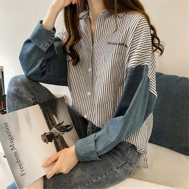 stripe long-sleeve shirt for women autumn new Hong Kong style loose casual shirt plus size women clothing 3