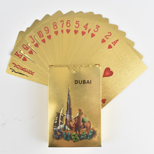 New Dubai Khalifa tower Design with De La Tour Hotel Arabia Gold Foil Playing Cards Plastic Waterproof For Game