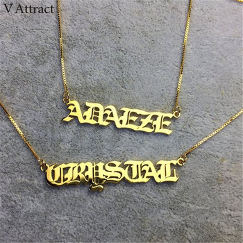Gothic Old English Name Choker Necklace Gold Box Chain Personalized Custom Nameplate Long Necklaces For Women Men Christmas Gift