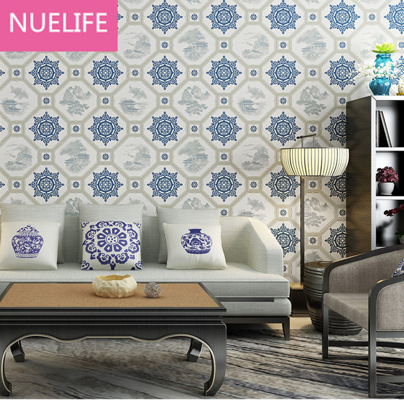 Retro Chinese Style  Blue and white porcelain Window flowers Wallpaper living room bedroom kids room shop Wallpaper chinese jingdezhen blue and white porcelain flower pattern table lamps retro warm cloth lamp for bedroom