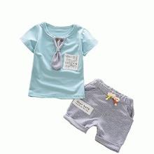 цена на Summer Children Stripe Pants Cartoon T-shirt + Stripe Pants Fashion Kids Two Piece Set