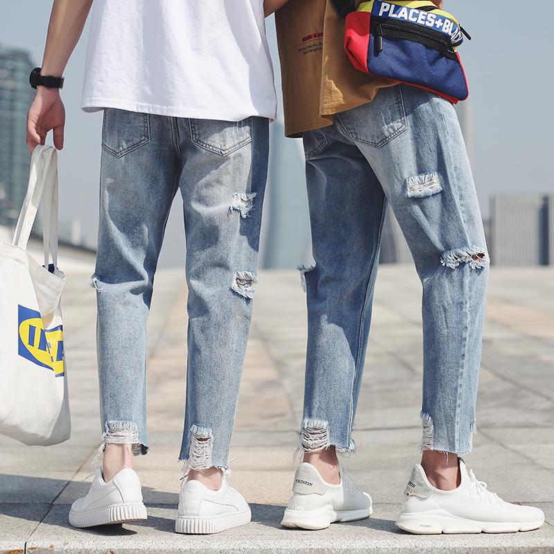 2018 Mens Fashion Trend Classic Style Blue Stretch Loose Holes Jeans Casual Pants Homme Brand Biker Denim Trousers Size S-2XL
