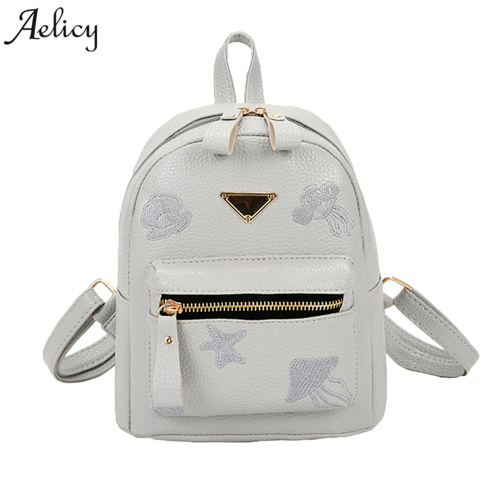 cdb185bf1b90 Aelicy Women Backpack Small Size Black PU Leather Mini Backpacks for  Teenage Girls Female Back Pack Famous Brand Women Backpack-in Backpacks  from Luggage ...