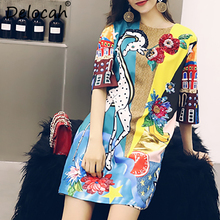 Delocah Autumn Women Dresses Fashion Runway Designer Long Sleeve Gorgeous Sequined Beading Animal Printed Casual Dress