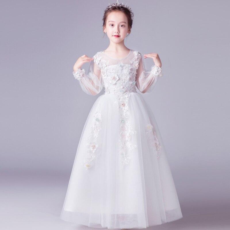 Model Show Catwalk Appliques Flowers Princess Long Mesh Dress 2019 Luxury Children Girls Elegant Birthday Evening
