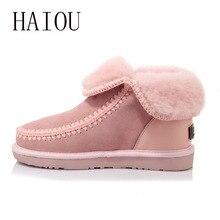 Wool Women Snow Boots Pink Flat Platform Ankle Winter Shoes Ladies Fur Warm Australia Boots Warm Shoes Women Boots Comfortable