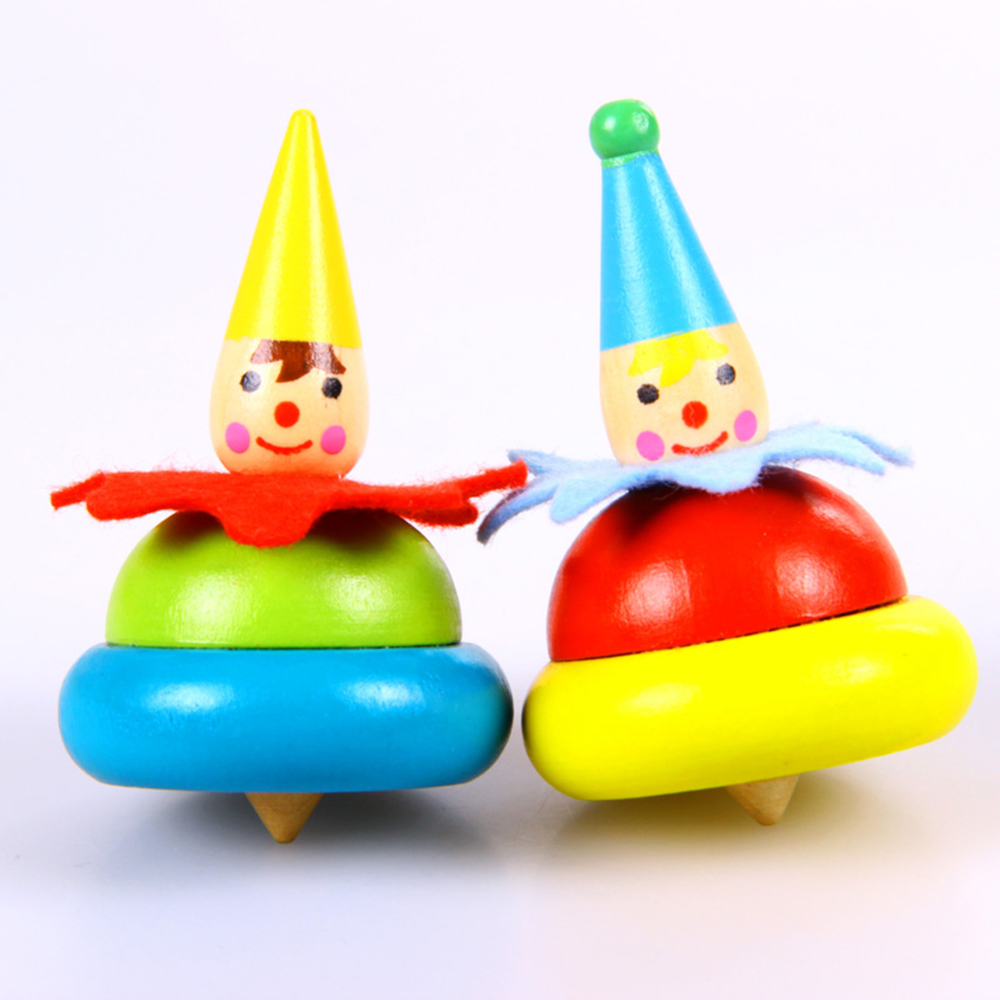5 Pairs Of Wooden Clown Spinning Top Toy Kids Baby Educational Toys Christmas Gift For Children Birthday In Tops From