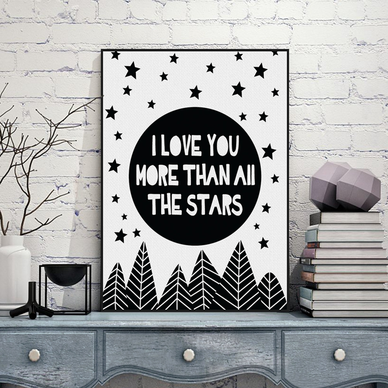 Hot Sale Nursery Quotes I Love You More Than All Stars Wall Art ...