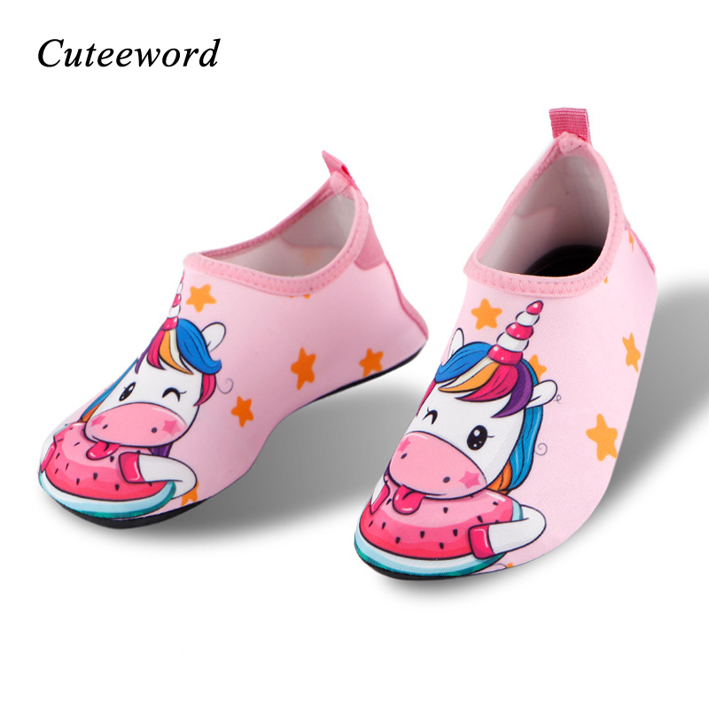 Summer New Children Water Shoes Cartoon Boys Girls Swimming Shoes Barefoot Skin Care Breathable Slip Indoor Kids Home Shoes