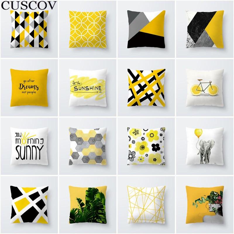 >Best selling simple fashion geometric leaves yellow polyester sofa <font><b>cushion</b></font> <font><b>cover</b></font> hug pillowcase soft polyester pillowcase