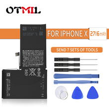 Lithium Battery For iPhone X IphoneX Replacement Batteries Internal Phone Bateria 2716mAh + Free Tools for moble phone battery