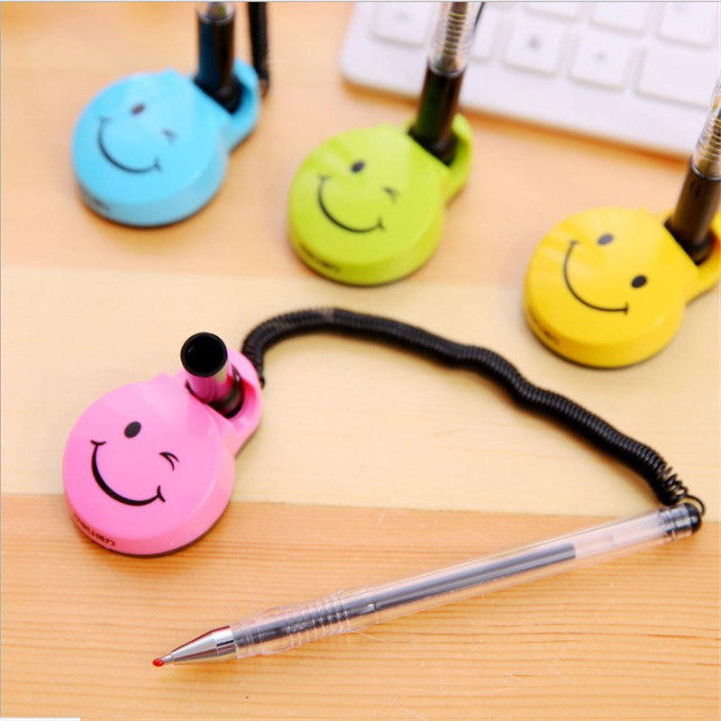 Deli 0.5mm Creative Cartoon Smiley Gel Pen Bank Counter Front Desk Fixed Neutral Pens For Writing Chancery Supplies Stationery