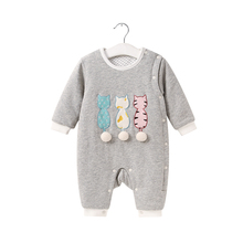 Pureborn Baby Romper Newborn Baby Clothes Clothing Winter Jumpsuit for Girls Boys Cat with Wool Tail Cotton One Piece Christmas