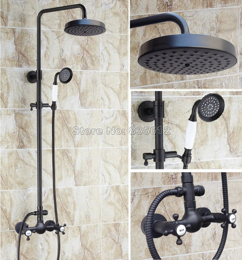 Wall Mounted Bathroom Rain Shower Faucet Set & Black Oil Rubbed Bronze Dual Handles Mixer Taps with Handheld Shower Head Wrs495