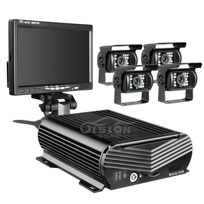 Livraison Gratuite 4 CH WIFI GPS 4G 1080 P AHD 2 TB HDD SD Voiture DVR MDVR Vidéo Enregistreur Téléphone À Distance Moniteur Vue Arrière De Voiture Caméra 7 LCD