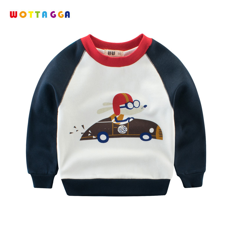WOTTAGGA Hoodie Patchwork Fleece Sweatshirts Boys Kids Toddler Tops & Tees Long Sleeve Pullover Cartoon 3-8Y Spring 2018