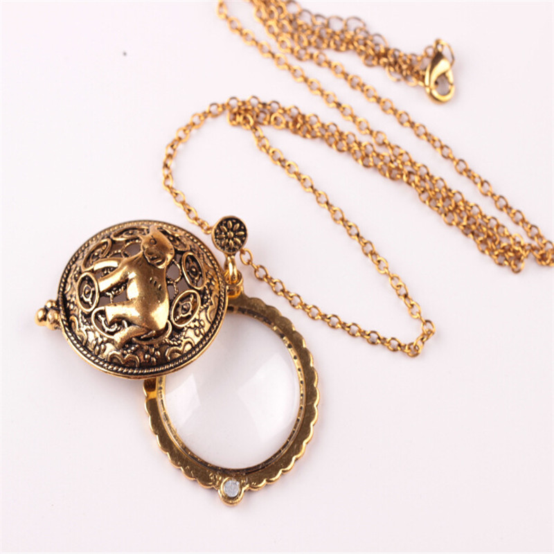 Elephant Hollow Tree Of Life Circle Glass Cabochon Domed Magnifying Glass Necklace Unisex Magnifier Pendant Antique Gold Jewelry