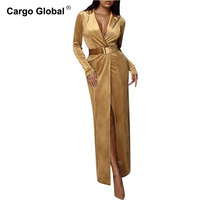 Women Sexy Gold Velvet V Neck Long Sleeve Spelled Satin Strap Dress Dress Female Long Dresses With Belt