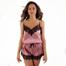 Women Clothes Pajamas Sleepwear for Women Sleeveless Spaghetti Strap Nightwear Lace Trim Satin Cami Top shorts Pajama Sets lace trim cami top