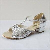 Free Shipping 2016 New Popular Silver Sequins Latin Dance Shoes Women Girl Salsa Tango